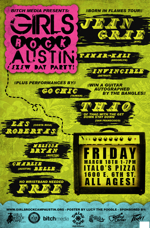 One sheet for Girls Rock Camp Austin's SXSW Day Party.