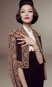 Fei Fei Sun wearing a dramatic jacket.